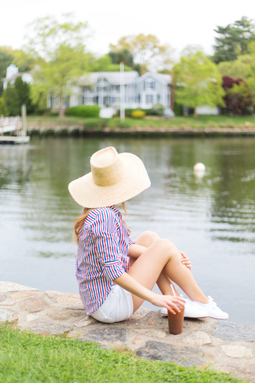 j.crew classic-fit boy shirt in red-and-blue stripe and j.crew straw sun hat