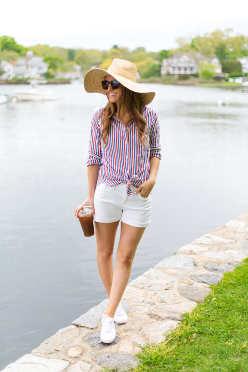 j.crew classic-fit boy shirt in red-and-blue stripe straw sun hat and denim short in white