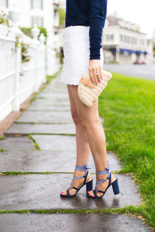 j.crew wrap-around heels (100mm) in gingham