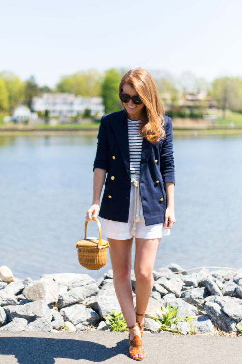 polo ralph lauren knit double-breasted blazer and linen high-rise short