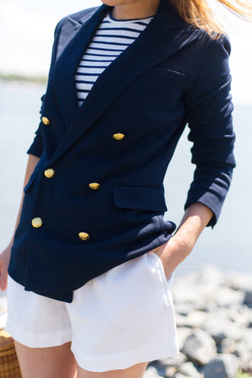 polo ralph lauren knit double-breasted blazer in navy
