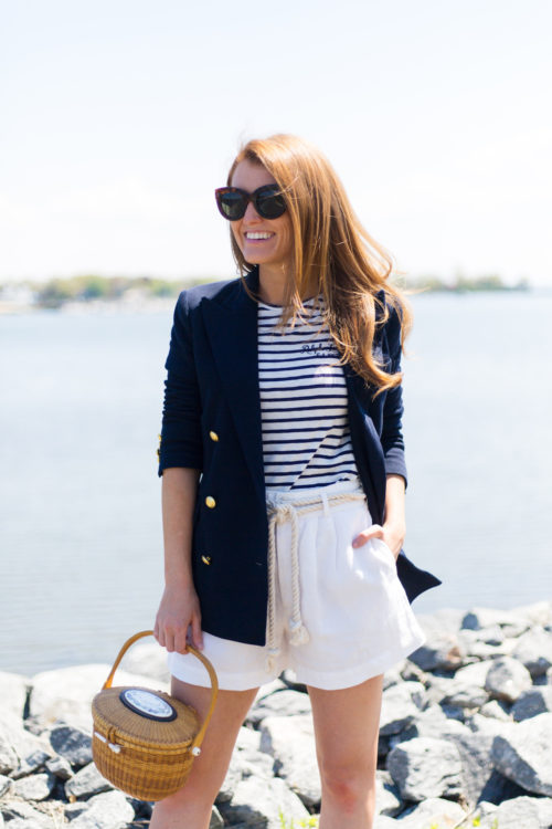 polo ralph lauren knit double-breasted blazer striped shirt linen high-rise short and nantucket lightship basket