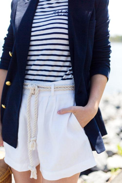 polo ralph lauren striped long-sleeve t-shirt and linen high-rise shorts