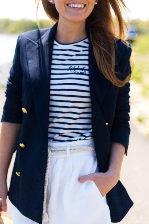 polo ralph lauren striped long-sleeve t-shirt with linen high-rise shorts