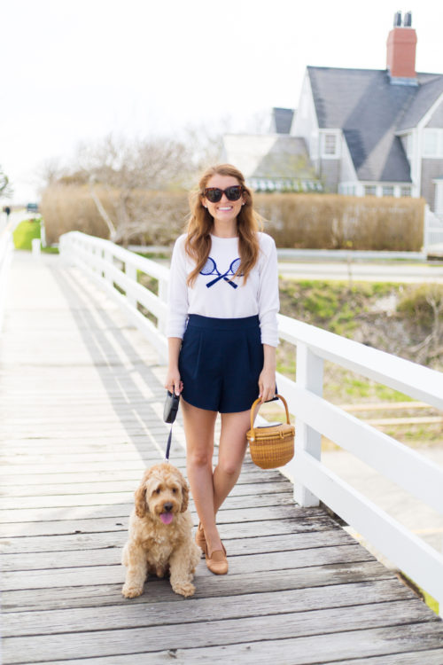 two bees cashmere tennis sweater and nantucket lightship basket