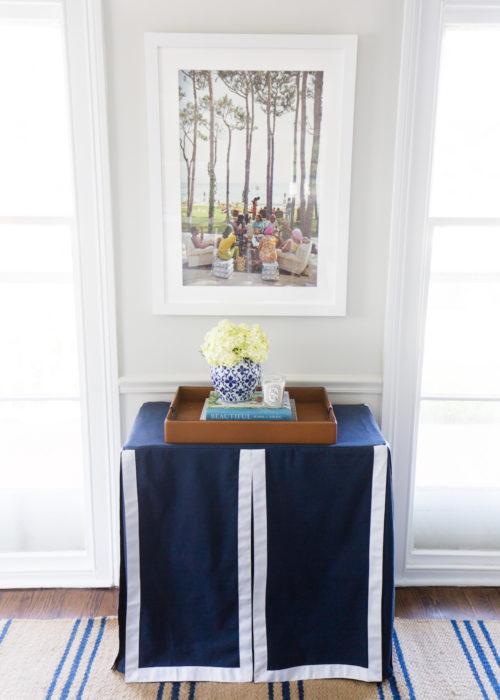 custom navy blue and white table skirt from etsy