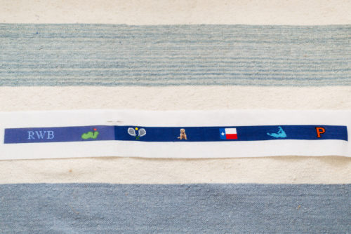 custom needlepoint belt design darling