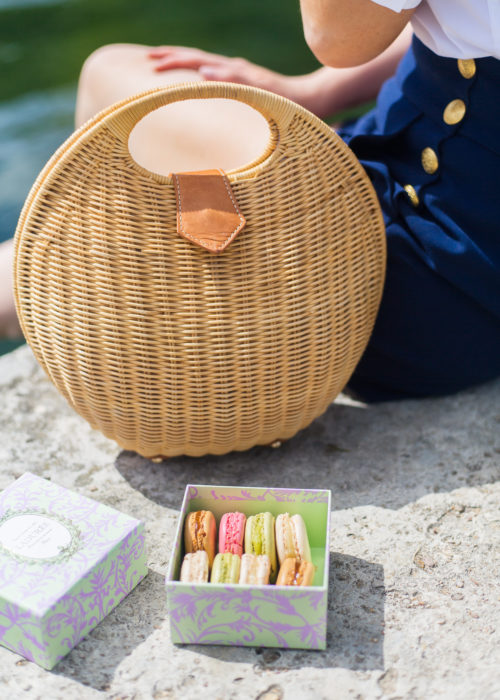 jmclaughlin natural victoria circular wicker bag and laduree macarons at versailles