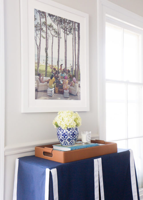 navy and white table skirt