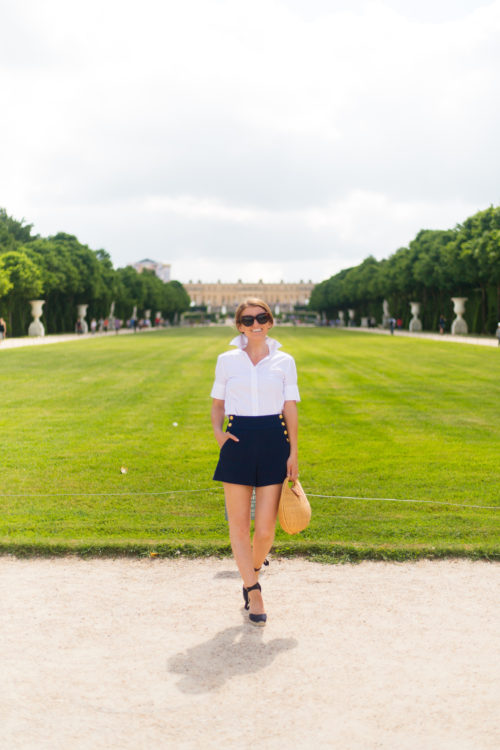 the shirt by rochelle behrens white short sleeve icon shirt and alice + olivia donald high waist sailor shorts at versailles