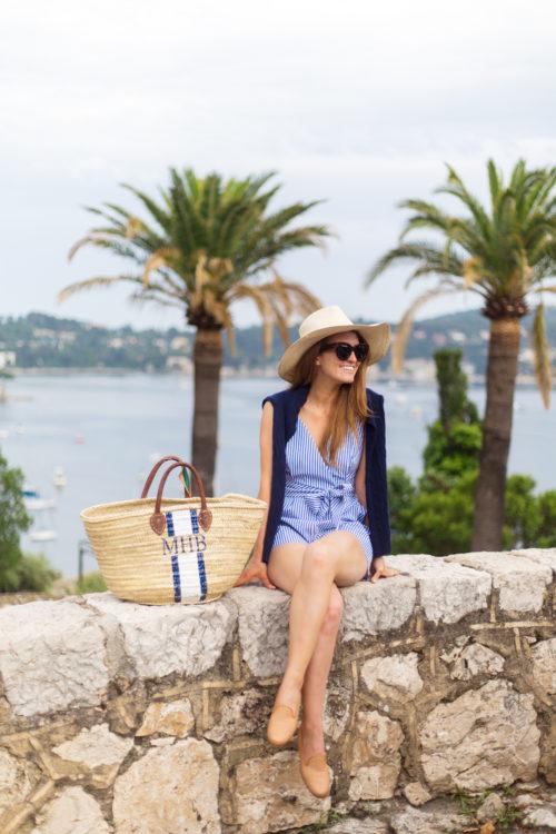 tuckernuck celia romper and mark & graham hand-painted straw beach bag