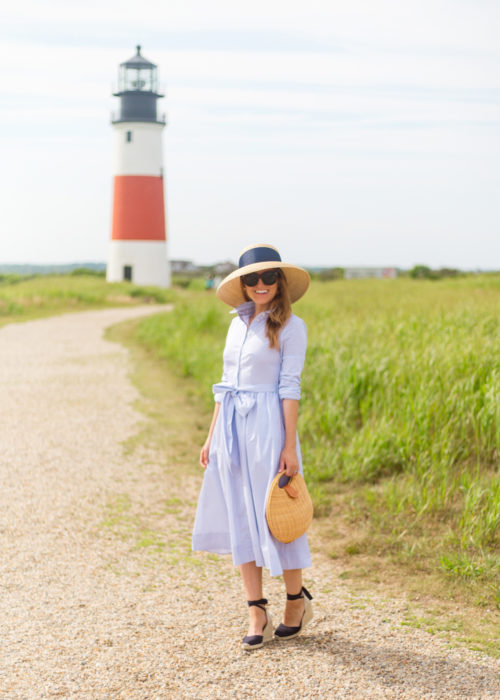 1901 stripe midi shirtdress