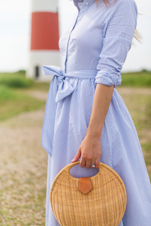 1901 stripe midi shirtdress and j.mclaughlin natural victoria circular wicker bag