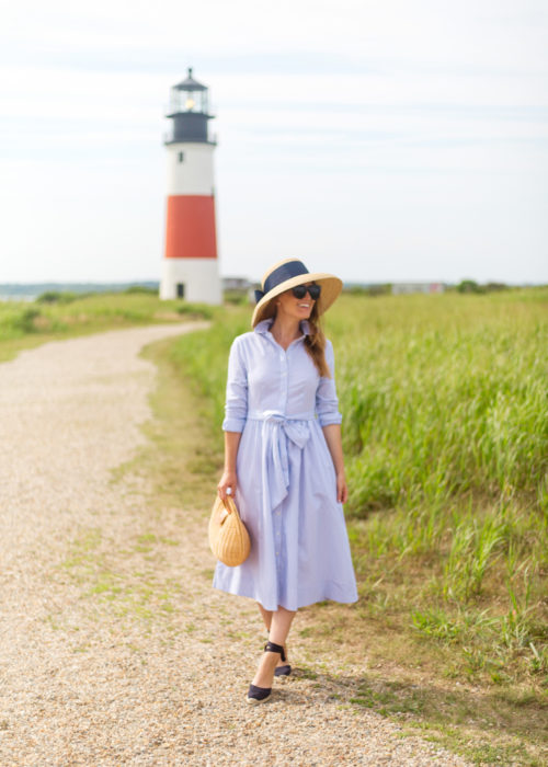 1901 stripe midi shirtdress and lisi lerch hat