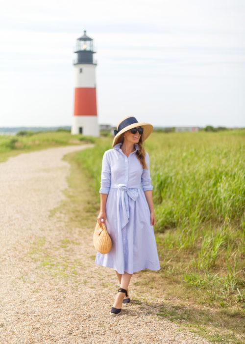 e9f40fa8a61c 1901 stripe midi shirtdress and lisi lerch hat