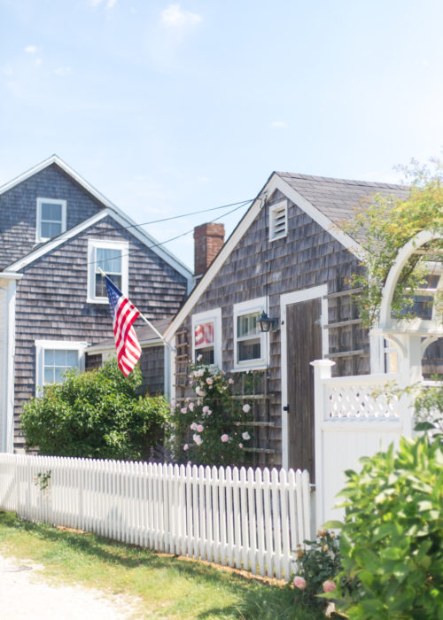 american flag and climbing roses in sconset nantucket
