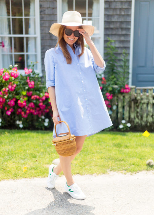 bb dakota cleans up well shirt dress and nantucket lightship basket