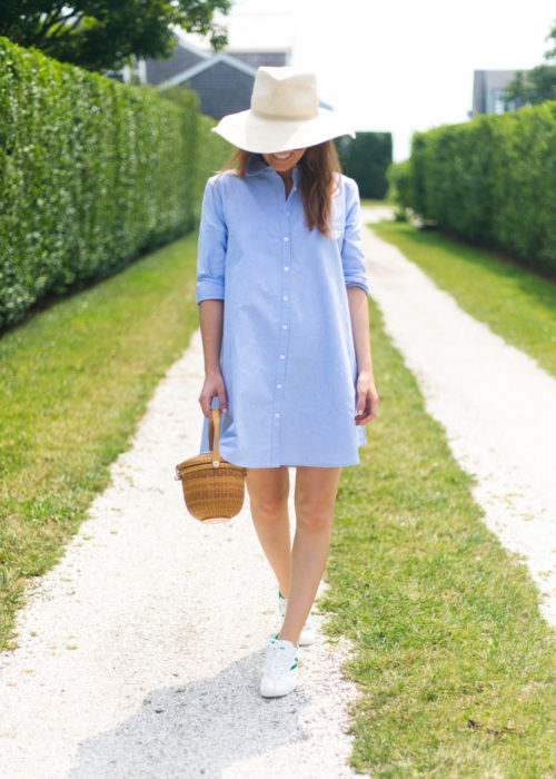 blue oxford shirt dress and tretorn sneakers