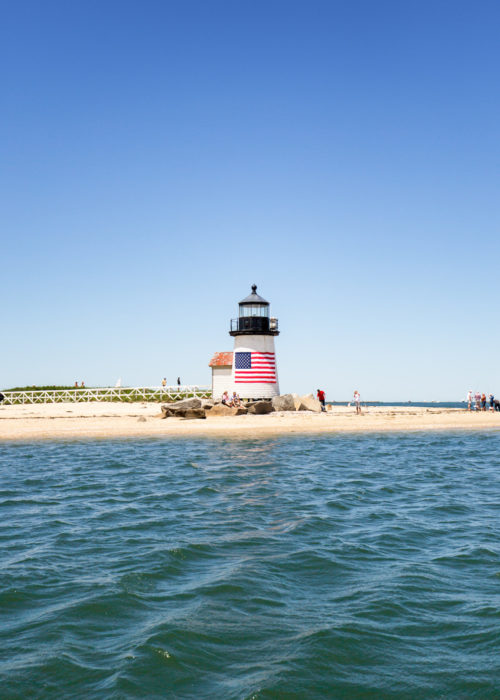 brant point lighthouse from sailboat charter