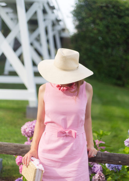 cuyana summer hat and elizabeth wilson beth dress