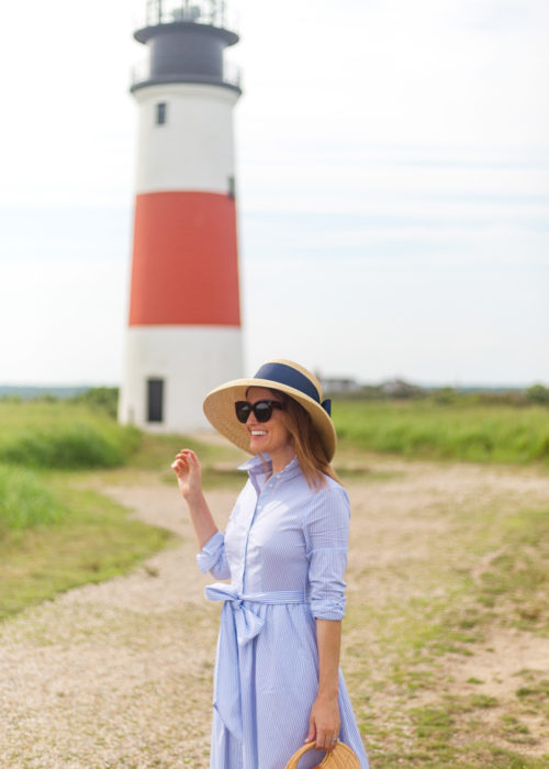 lisi lerch hat and 1901 stripe midi shirtdress