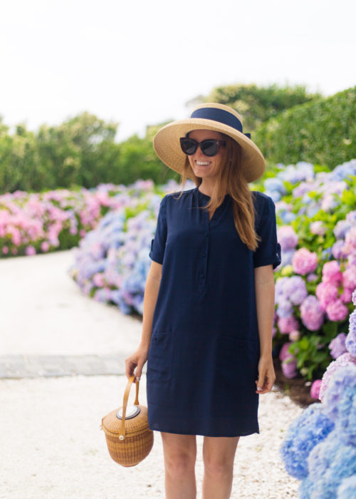 lisi lerch hat and sezane zoe silk pocket dress
