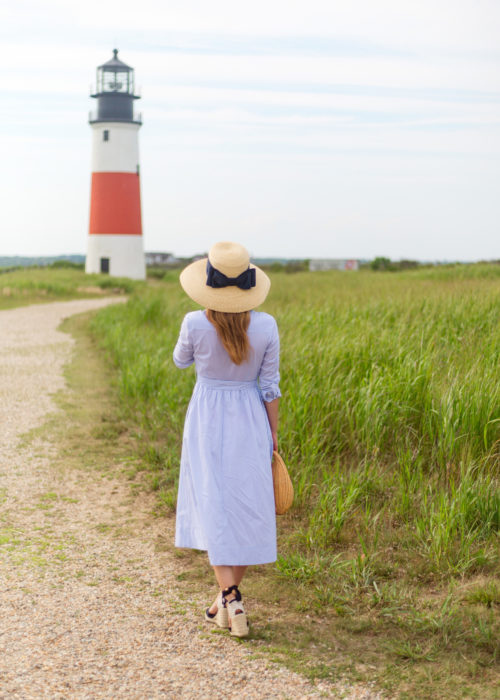 lisi lerch lauren hat and 1901 stripe midi shirtdress
