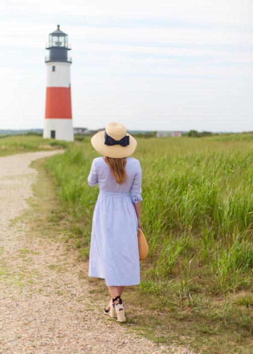 lisi lerch lauren hat and 1901 stripe midi shirtdress