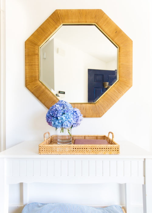 pottery barn sarah bartholomew octagonal rattan mirror and madeline tray on design darling