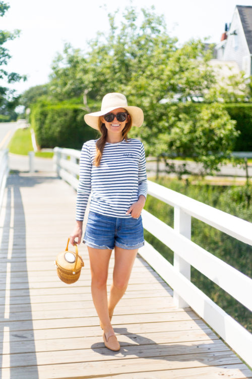 striped shirt and denim shorts on design darling