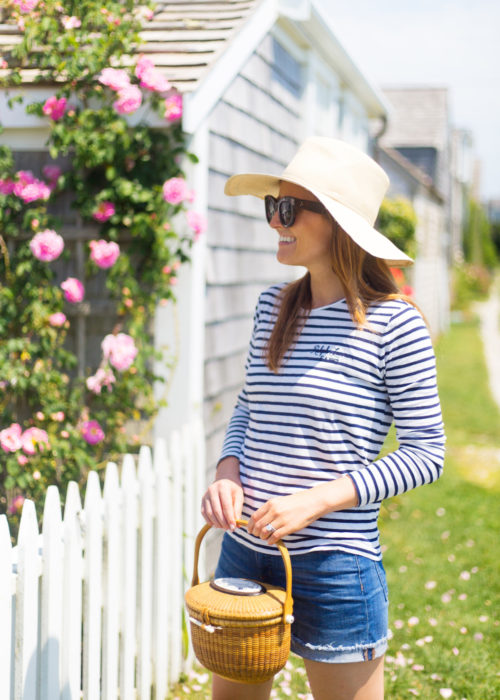 striped shirt denim shorts and nantucket lightship basket