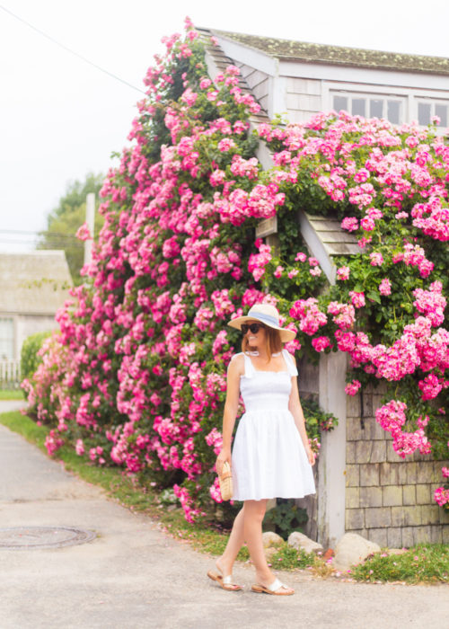 white bow shoulder dress in nantucket