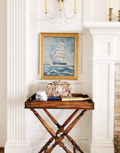 seascape painting and seashell box