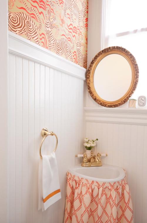 elizabeth swift design skirted sink bathroom