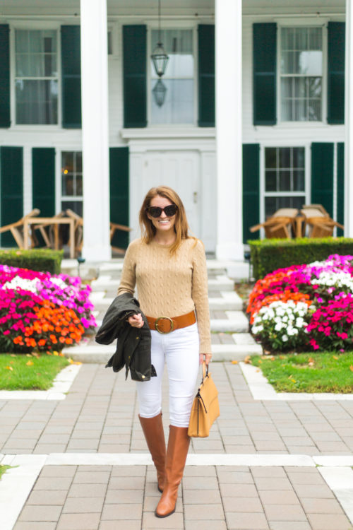 fall outfit with white jeans and j.crew leather riding boots