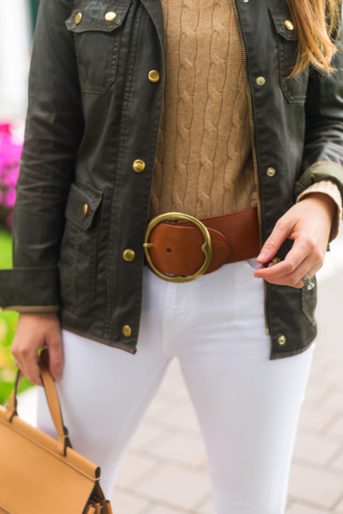 fall outfit with white jeans and polo ralph lauren lennox vachetta wide belt