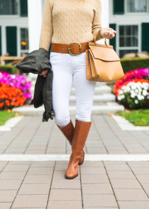 j.crew leather riding boots with white jeans on design darling