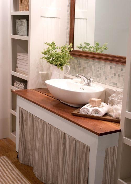 skirted sink in bathroom