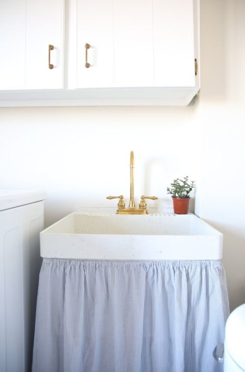 striped skirted sink inspiration