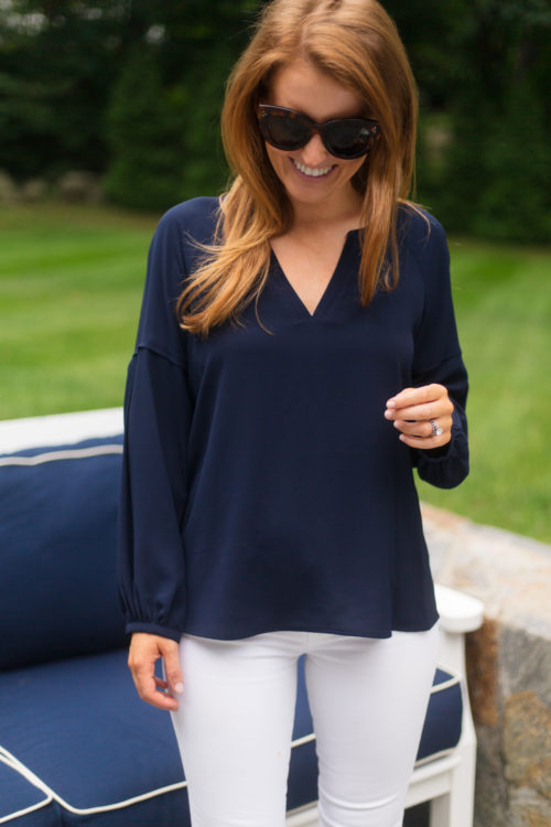 vince camuto bubble sleeve crepe blouse